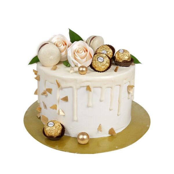 pastel blanco flores